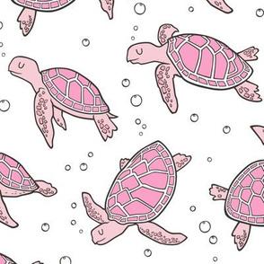 Sea Turtles Nautical Ocean Pink on White
