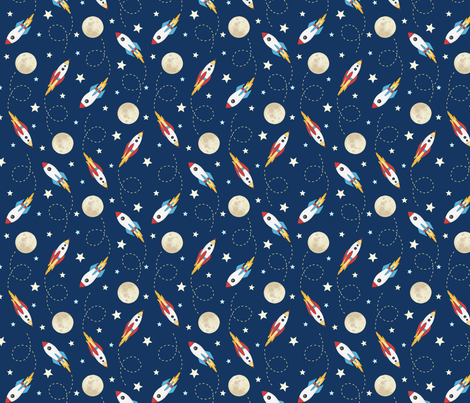 Rockets - smaller scale rotated 90 degrees fabric by hazelfishercreations on Spoonflower - custom fabric