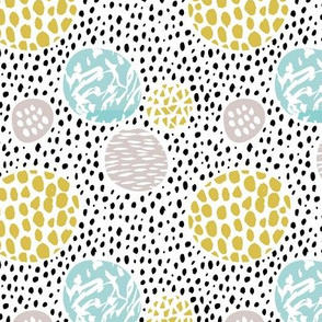Cool dots and freckles circle abstract memphis style dots in pastel gender neutral