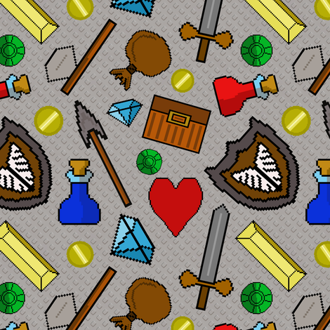 8 Bit Pixel Retro Video Game Icons fabric by themadcraftduckie on Spoonflower - custom fabric