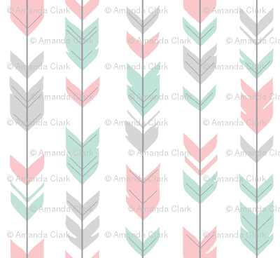 Arrow Feathers - mint, pink and grey