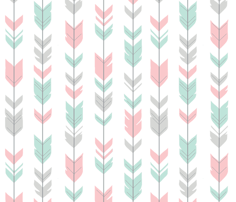 Arrow Feathers - mint, pink and grey fabric by sugarpinedesign on Spoonflower - custom fabric