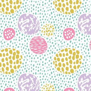 Cool dots and freckles circle abstract memphis style dots in pastel girls summer