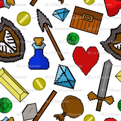 Retro 8 bit pixel video game icons