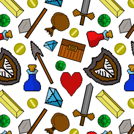 Retro 8 bit pixel video game icons fabric by themadcraftduckie on Spoonflower - custom fabric