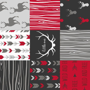 wholecloth Quilt - Patchwork Deer in cherry red, black and grey