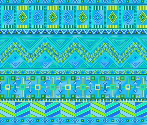 Aztec Print Blues And Greens fabric by theartofvikki on Spoonflower - custom fabric