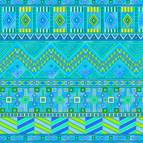Aztec Print Blues And Greens