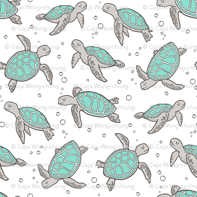 Sea Turtles Nautical Ocean Mint Green on White