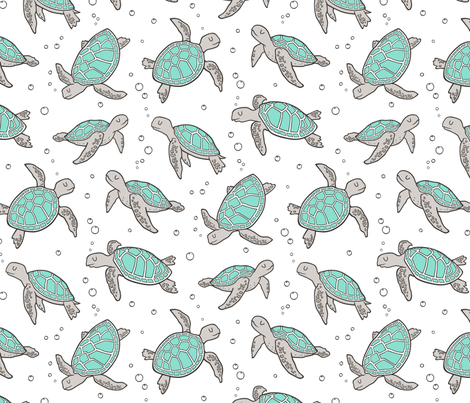 Sea Turtles Nautical Ocean Mint Green on White fabric by caja_design on Spoonflower - custom fabric