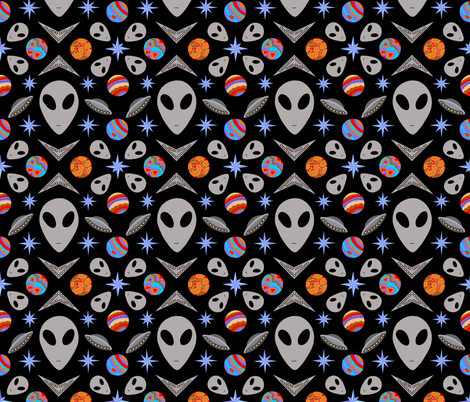 Aliens And UFOs In Space [on black] fabric by theartofvikki on Spoonflower - custom fabric