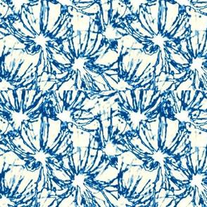 blue blossoms on cream
