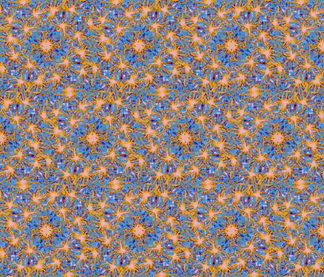 Blue and orange spinners fabric by twigsandblossoms on Spoonflower - custom fabric