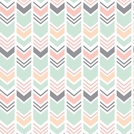 (small scale) Chevron // Pink/Peach/Mint/Grey fabric by littlearrowdesign on Spoonflower - custom fabric