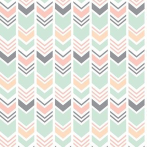 (small scale) Chevron // Pink/Peach/Mint/Grey