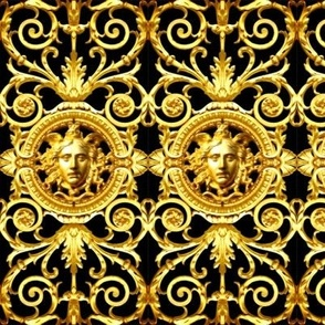 2 filigree baroque rococo black gold flowers floral leaves leaf ivy vines acanthus Versace inspired Victorian medusa inspired gorgons Greek Greece