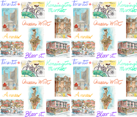 Toronto Canada Urban Watercolours fabric by morenap on Spoonflower - custom fabric