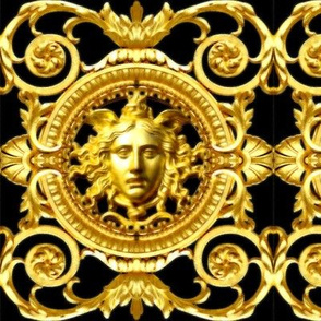 1 filigree baroque rococo black gold flowers floral leaves leaf ivy vines acanthus Versace inspired Victorian medusa inspired gorgons Greek Greece  mythology
