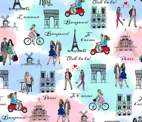 Paris fabric by svetlana_prikhnenko on Spoonflower - custom fabric