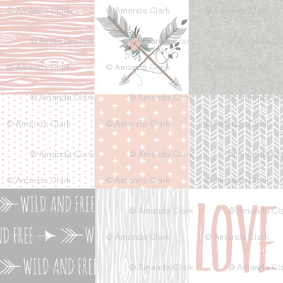 BoHo Arrows/Love Wholecloth Quilt - Blush and Grey