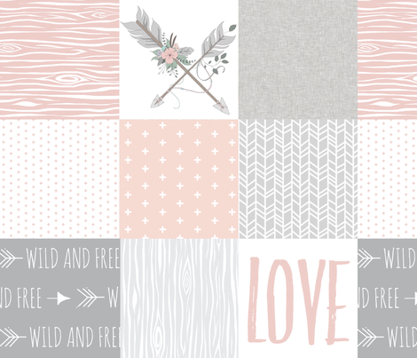 BoHo Arrows/Love Wholecloth Quilt - Blush and Grey fabric by sugarpinedesign on Spoonflower - custom fabric