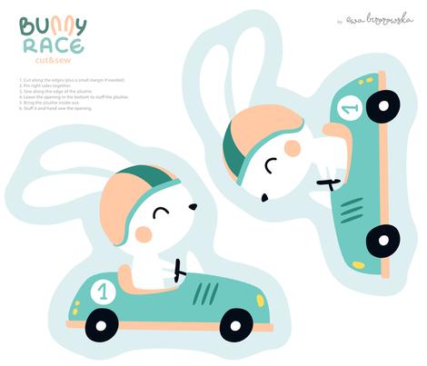 Bunny Race - plushie softie cut&sew pillow fabric by ewa_brzozowska on Spoonflower - custom fabric