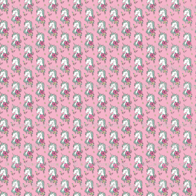 Dreamy Unicorn & Vintage Boho Flowers on  Pink  Tiny Small