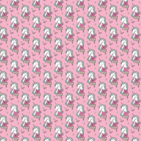 Dreamy Unicorn & Vintage Boho Flowers on  Pink  Tiny Small fabric by caja_design on Spoonflower - custom fabric