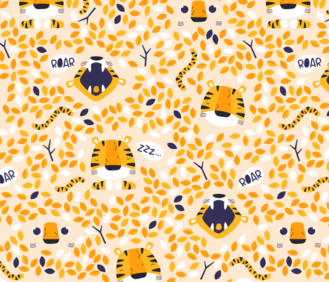 Roarr - wild orange tiger fabric by ewa_brzozowska on Spoonflower - custom fabric