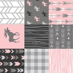 pink Moose - Patchwork Quilt - pink/grey/black - Rotated