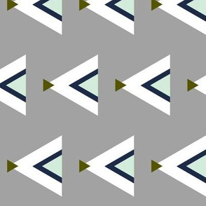 Rotated Tribal Teepees / Gray Navy Mint Olive