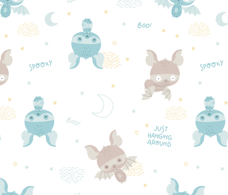Spooky - scandinavian light bats fabric by ewa_brzozowska on Spoonflower - custom fabric