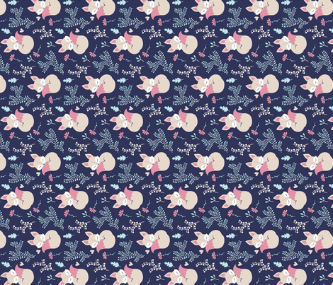 Sleeping Fox - Close Together Navy Rotated fabric by ewa_brzozowska on Spoonflower - custom fabric