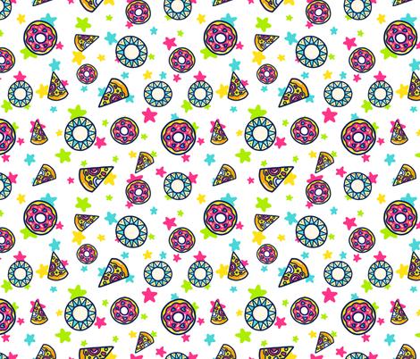 Pizza and Donut Doodle fabric by ihavepurplehair on Spoonflower - custom fabric
