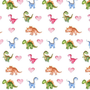 Water Color Dinosaurs and Hearts