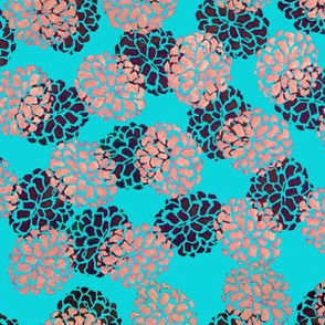 Teal and Peach Pinecone