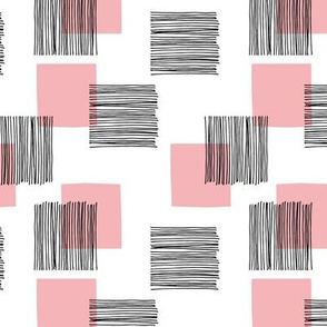 Black ink lines and square cubes modern mid century design pastel pink