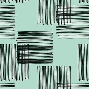 Black ink lines and square summer cubes modern mid century design pastel mint green walpaper