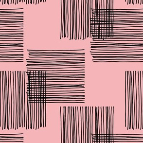 Black ink lines and square cubes modern mid century design pastel pink wallpaper