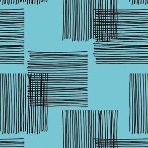 Black ink lines and square cubes modern mid century design pastel blue wallpaper