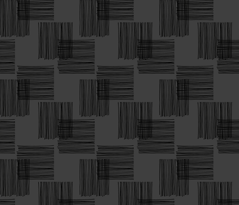Black ink lines and square cubes modern mid century design black charcoal fabric by littlesmilemakers on Spoonflower - custom fabric