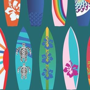 Surf Boards on the Beach lagoon