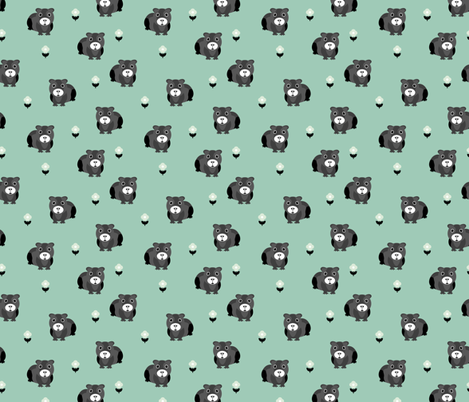 Cute little guinea pig and summer flowers cavia love mint green fabric by littlesmilemakers on Spoonflower - custom fabric