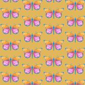 Medium small butterflies, colourful on dark mustard yellow || shirt top blouse night gown woman dress fun trendy man men girl kid women