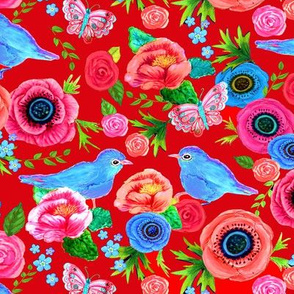 Scandinavian Red  floral, bird floral, red, flowers, rose, poppy, birds,  with bluebirds
