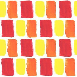 Broad Brush Strokes in Orange, Red and Yellow