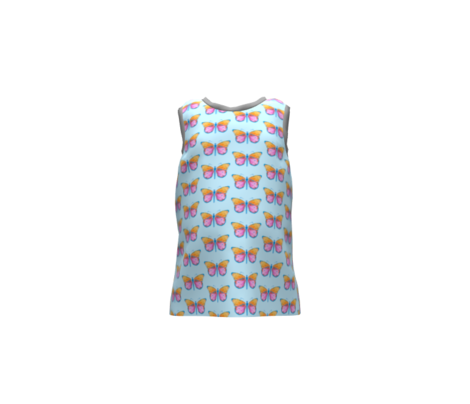 Small butterflies, colourful on very light blue || shirt top blouse night gown woman dress fun trendy man men girl kid women