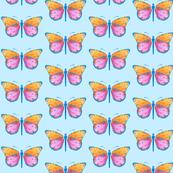 Medium small butterflies, colourful on very light blue || shirt top blouse night gown woman dress fun trendy man men girl kid women
