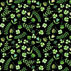 Clover and flowers_black