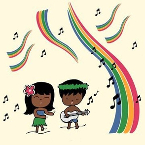 Hula Kids with Rainbows